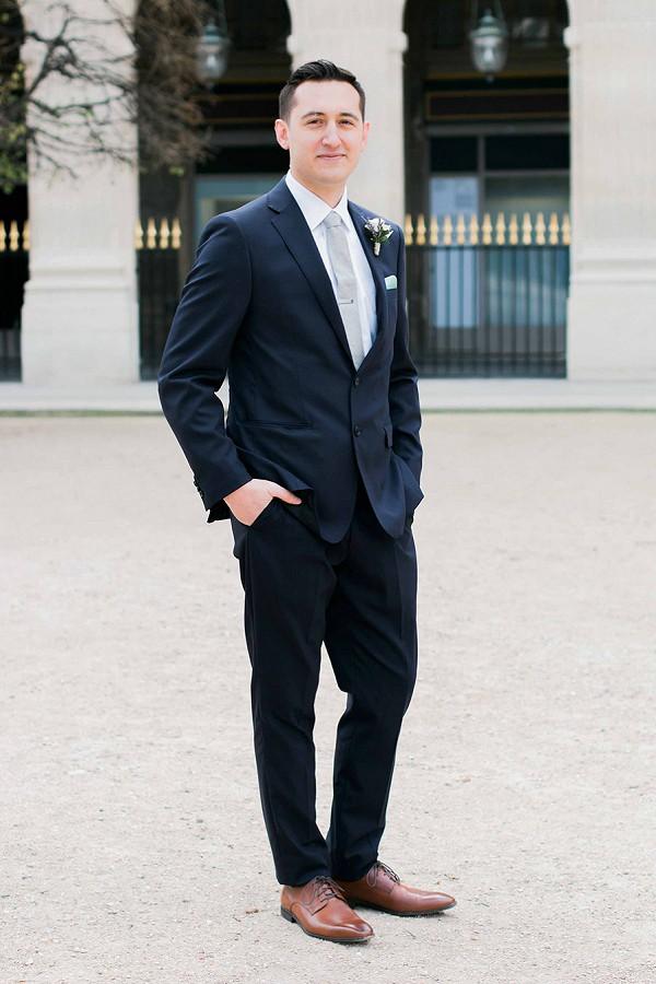 Navy blue groom attire