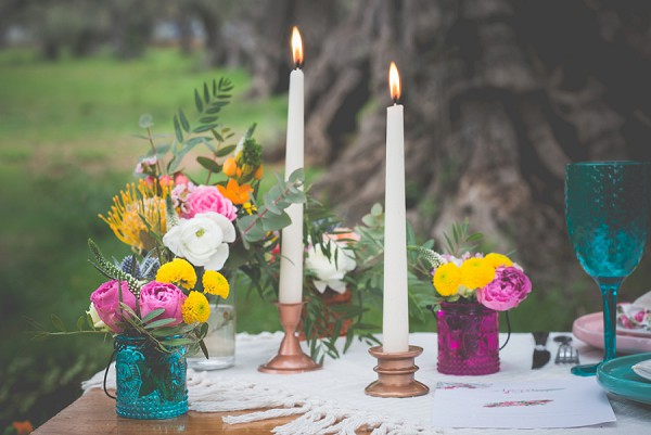 Rustic boho table arrangements