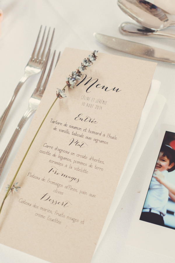 Wedding menu on tables