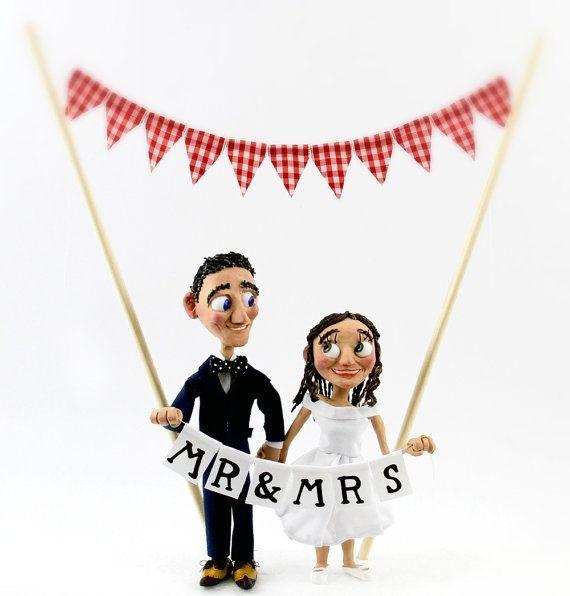 Bespoke Wedding Bride and Groom Cake Topper Figures