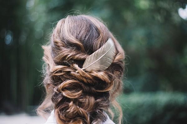 Gold leaf hair accessorie wedding