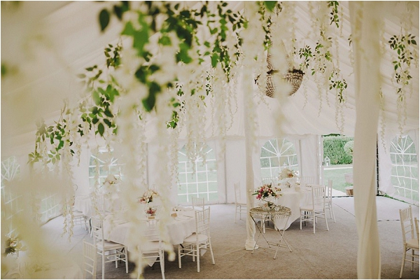 Hanging wedding marquee flowers