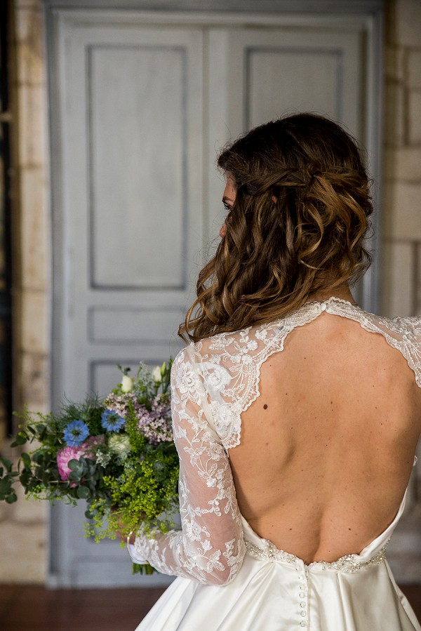 Loose curls bridal updo
