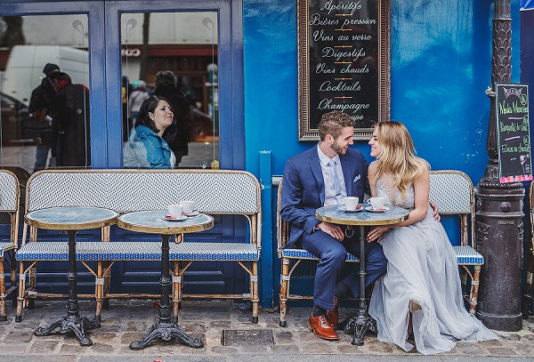 Paris cafe wedding photo