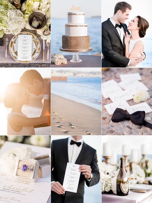 Romantic French Riviera Sunset Wedding Reception Snapshot