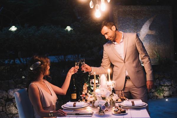 Romantic evening engagement shoot