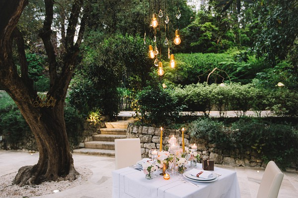 Romantic garden engagement shoot