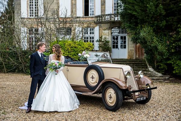 Wedding Chateau and vintage car