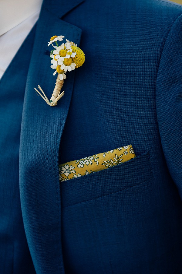 Yellow and navy wedding details