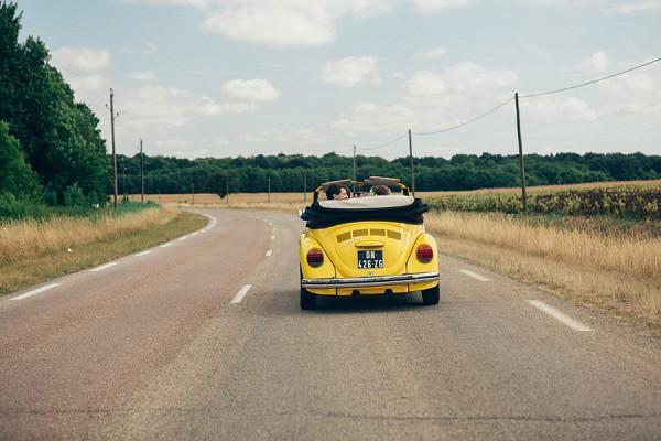Yellow beetle wedding car