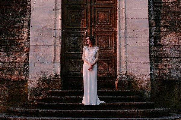 silk crepe and lace wedding gown