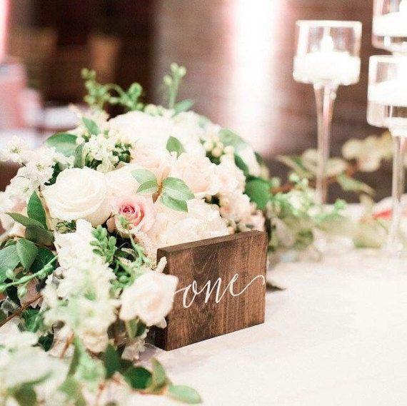 wood calligraphy wedding table numbers