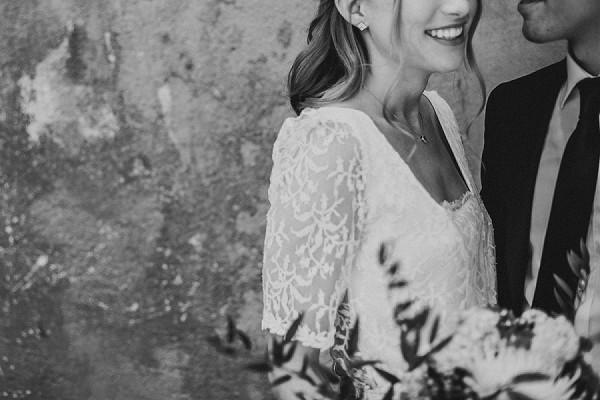 Lace sleeve short wedding dress