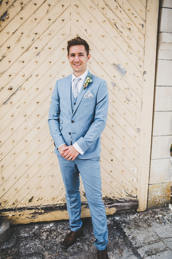 Light blue and lilac wedding suit
