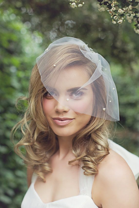 Tulle Crystal Pearl Birdcage Veil