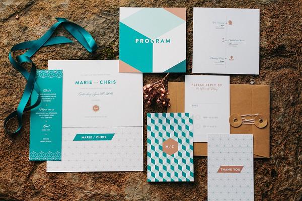 Turquoise Invitation suite