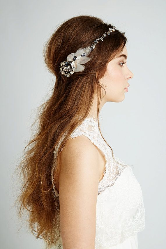 pretty bridal headdress by Feather and Coal