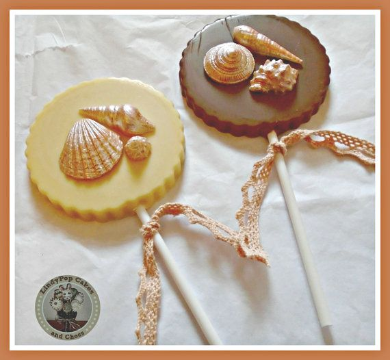 Chocolate Shell Lollipop Set of 2 Beach Wedding Favours