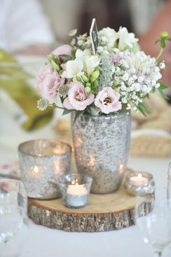 Pastel pink wedding flowers