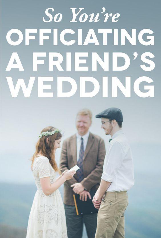 officiating a friends wedding