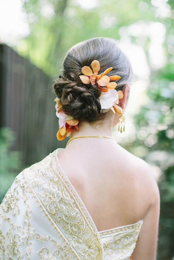 orchid wedding hair flowers