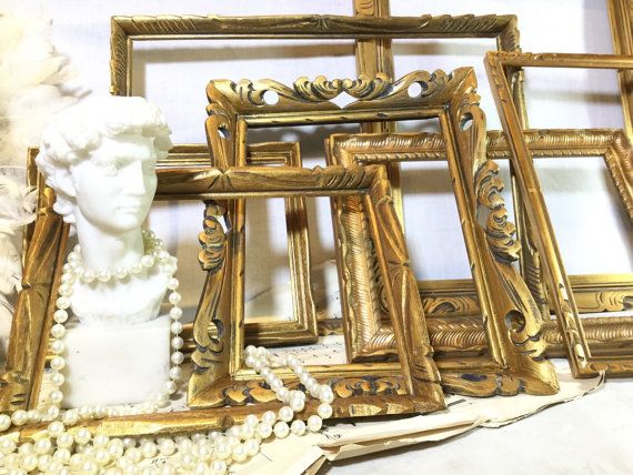 set of vintage gold frames for wedding DIY decor