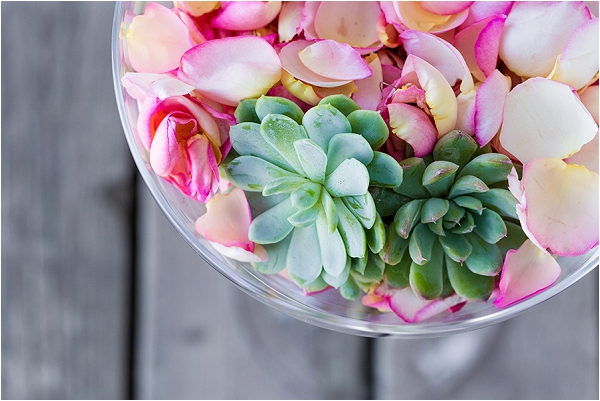 succulent and pink wedding