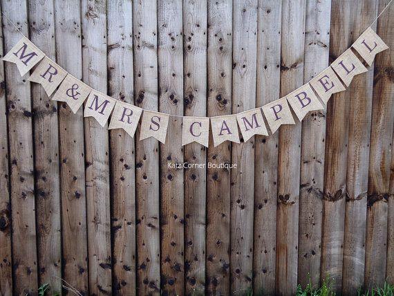Autumn wedding personalised Mr & Mrs bunting banner