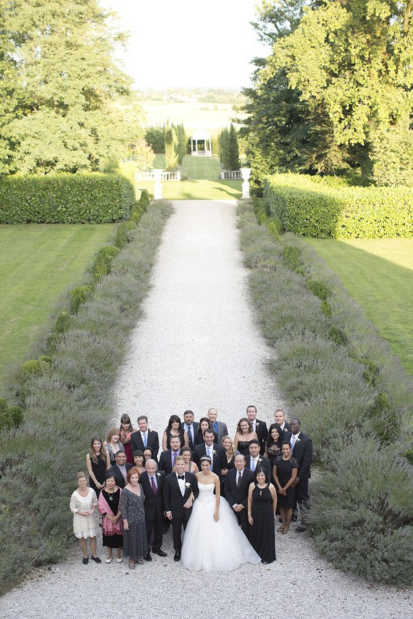 chateau wedding group photograph