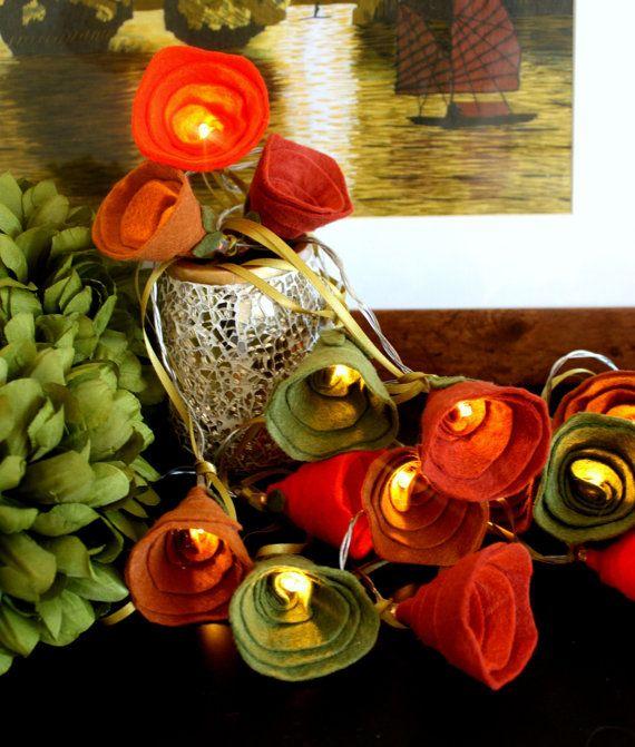Fall Autumn Fairy lights, Autumn decor rose lights