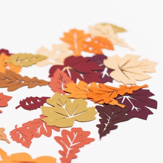 autumn leaf table confetti