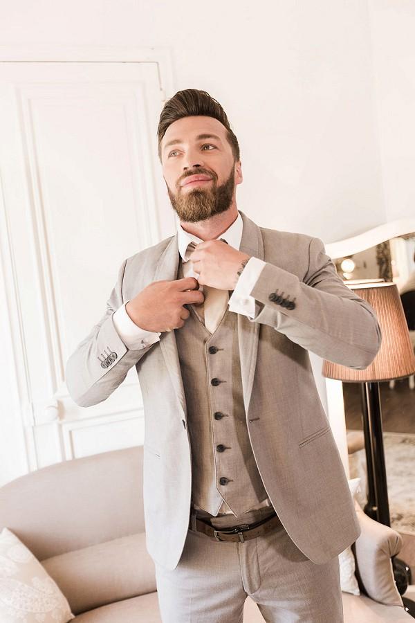beige wedding suit