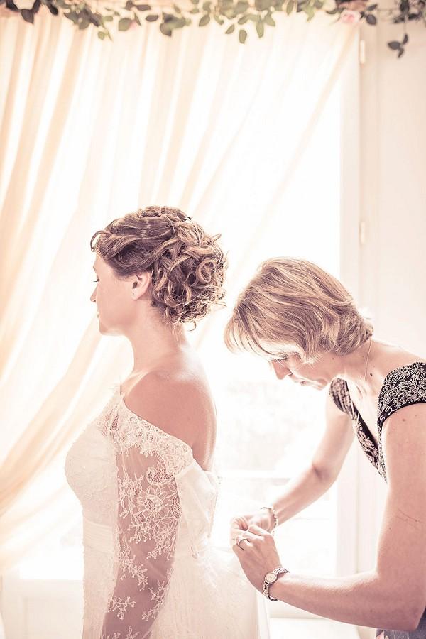 button detail wedding gown