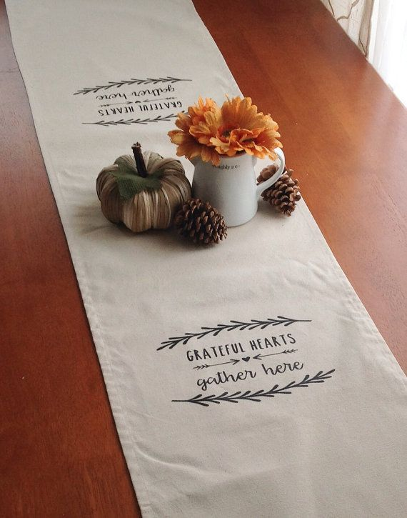grateful hearts gather here autumn table runner