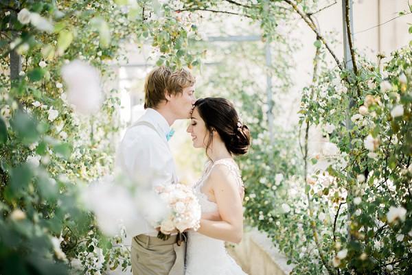 greenhouse wedding portrait