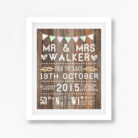 personalised wedding day gift print
