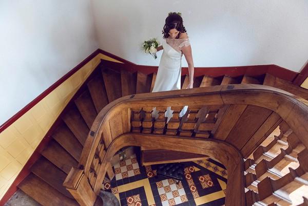 staircase wedding photo