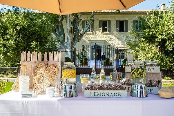Homemade wedding lemonade station