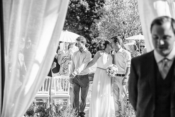 Outdoor Provence wedding aisle