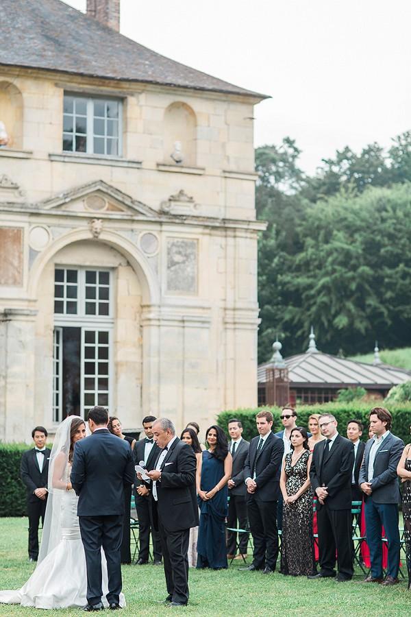 Outdoor burgundy wedding ceremony