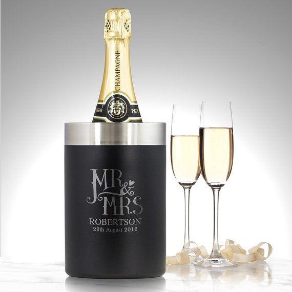 Personalised Mr Mrs bottle cooler luxury wine champagne wedding keepsake gift