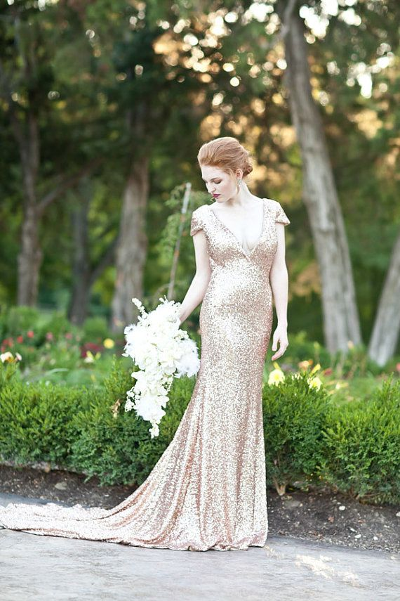 Rose Gold Paillettes Old Hollywood Wedding Gown