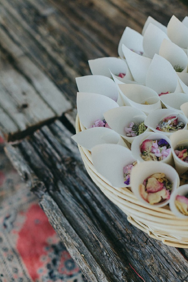 Rustic wedding confetti cones