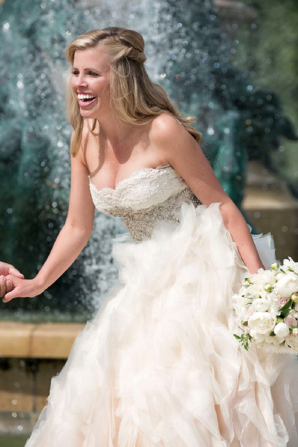 Strapless champagne wedding dress