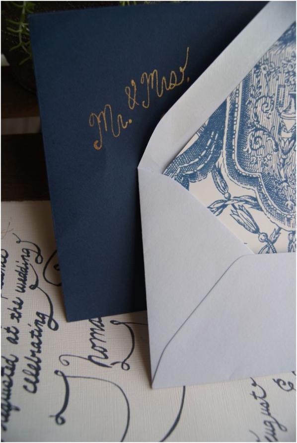 handmade blue and white wedding invitations