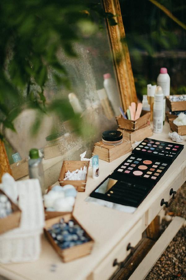 make up wedding day table