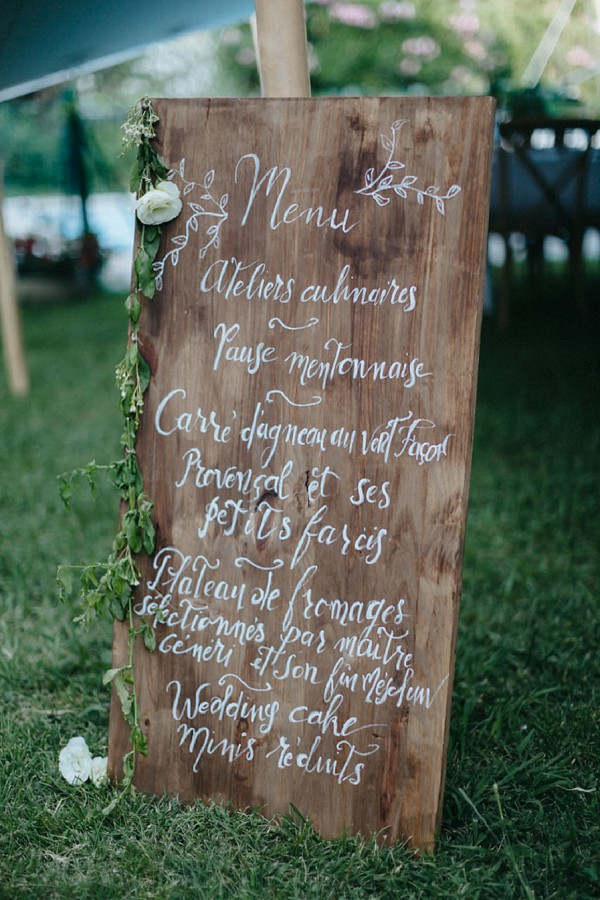 rustic wedding day menu