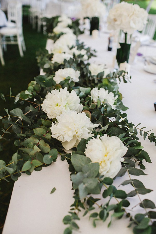 white and green wedding florals