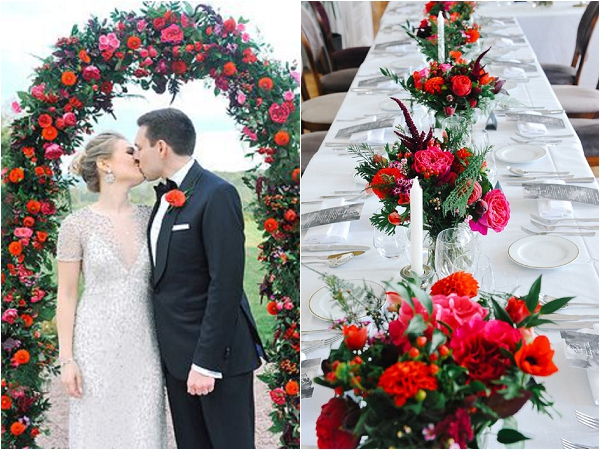 Red white and silver wedding flowers Sylvain Harrison