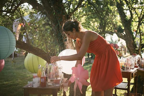 Wedding rustic drinks bar